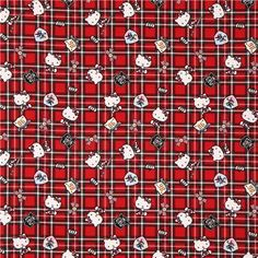 red Hello Kitty oxford fabric plaid tartan by Sanrio from Japan
