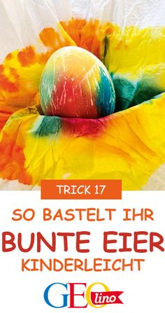 Basteln mit Kindern Coloring eggs is easy - with kitchen paper! The instructions are available at GE Easter Presents, Presents For Kids, Happy Easter, Easter Bunny, Coloring Easter Eggs, Hobby Room, Easter Colors, Flower Boxes, Color Card
