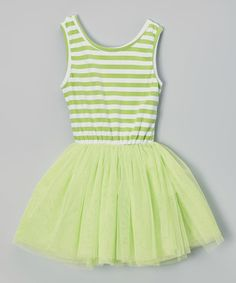 Another great find on #zulily! Lime Green Stripe Tutu Dress - Infant, Toddler & Girls by Miss Fancy Pants #zulilyfinds