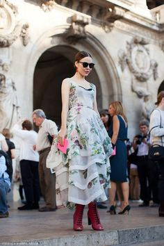 {Ulyana Sergeenko} {What a lovely floral summer dress!}