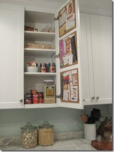 Install corkboard on the inside of your kitchen cabinet doors for various uses. Love having a clean countertop! Doing this tomorrow for my weekly meal plan, coupons, and kids weekly activities!