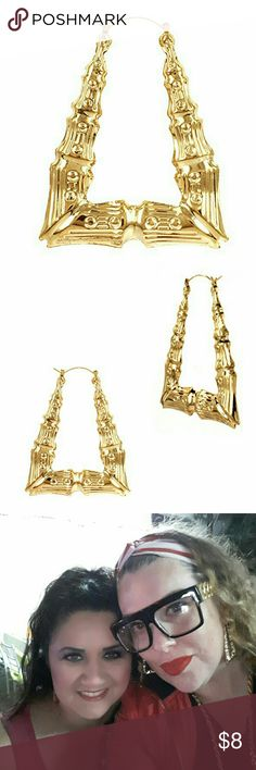 Bamboo Earrings (90's Love) Triangle Hollow Casting Bamboo Pincatch Earrings Made of gold plated brass based metal. Gift Box Included Size: 2 Inches/50mm Backing: Pincatch Lead free, Nickel Free gem gem jewelery Jewelry Earrings