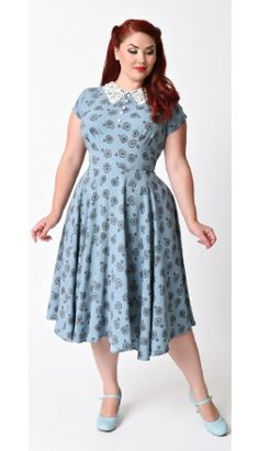 6fe2e08b4594 Hell Bunny Plus Size 1940s Style Blue Vintage Bicycle Penny Lover Swing  Dress Vintage Kjoler