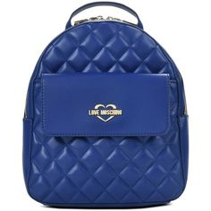 Love Moschino Rucksack (6.284.310 VND) ❤ liked on Polyvore featuring bags, backpacks, blue, zip backpack, logo backpack, zipper bag, backpack bags and rucksack bag