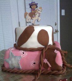 8fdb2334500 Cowgirl Dora two tier cake