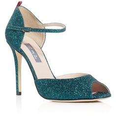 Sjp by Sarah Jessica Parker Ursula Glitter Mary Jane Peep Toe Pumps (1.255 BRL) ❤ liked on Polyvore featuring shoes, pumps, teal, maryjane pumps, glitter shoes, glitter pumps, peep toe pumps and teal shoes