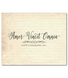 Amor Vincit Omnia - Love conquers all Latin Typography Print - Anniversary Wedding Gift  Chalkboard look French script - inspriational print by SusanNewberryDesigns on Etsy