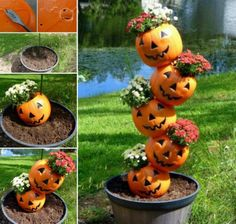 Take your tipsy pot garden to a new level with this cute halloween tipsy pot idea, instead of using clay pots, drill holes in plastic pumpkins and fill them with fall mums. Turn the pumpkins around to hide the jack-o-lantern face to last through fall. Image Halloween, Fete Halloween, Holidays Halloween, Happy Halloween, Halloween Crafts, Halloween Halloween, Halloween Makeup, Halloween Buckets, Halloween Pumpkins