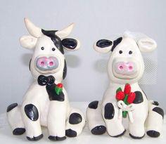 Love Cows Bride and Groom Wedding Cake Topper. $55.00, via Etsy.