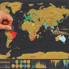 Carte du monde à gratter en papier  (2 tailles) Edition Deluxe