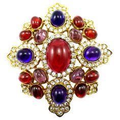 Kenneth Jay Lane Large Ruby  &  Amethyst Crystal Shield Brooch Pendant