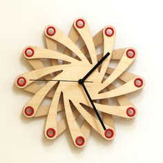 Galaxy - contemporary laser cut wooden wall clock made of bent plywood - $76 - check out for more: www.ardeola.hu