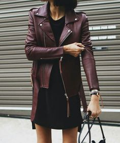 Burgundy Leather jacket on black outfit Burgundy Leather Jacket, Leather Jacket Outfits, Maroon Jacket, Leather Jackets, Mode Outfits, Fashion Outfits, Womens Fashion, Looks Street Style, Inspiration Mode
