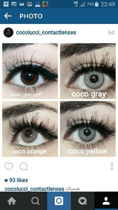 3 colors  from cocolucci contact lenses  on dark brown eye