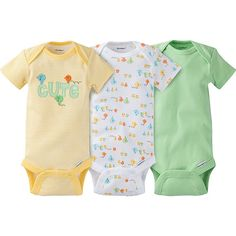 Cute neutral patterns and smart design features are what makes Onesies® brand bodysuits the perfect fit for your baby! 100% cotton fabric keeps them feeling great while the expandable lap shoulder and easy snap closure make dressing and changing easy!