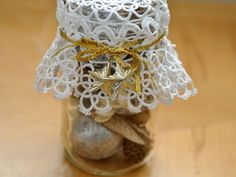 DIY crafts tutorial - Making A Doily Potpourri gift jar - easy Christmas gift idea