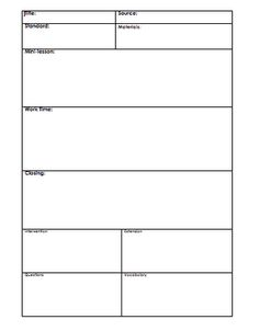 one day lesson plan template blank