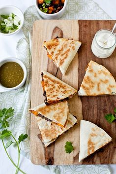 sweet potato + black bean quesadillas