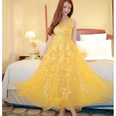 Summer Embroidered Round Collar Net Yarn Sleeveless Maxi Dresses Yellow ($35.00) http://www.clubwholesale.net/women-dresses/maxi-dresses