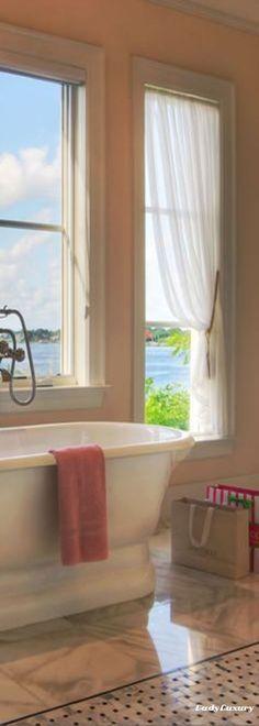 Luxury Beach Homes- Spectacular Bathroom Views of The Ocean   LadyLuxuryDesigns