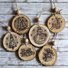 Wood slice ornaments.