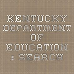 Kentucky Department of Education : Search