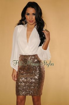 34bbb131870 Rose Gold Allover Sequins Knee Length Skirt Winter Shorts Outfits