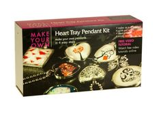 Heart glass tile kit. Everything you need to make up to 6 pendants. Made in. New Zealand