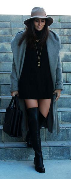 Black Suede Over-the-knee Boots and a black turtle knit dress