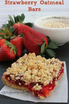 Strawberry Oatmeal Bars #dessert #strawberry #yum