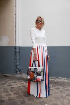 Loving this stunning patriotic street wear- and especially enjoying the chic transparent bag!