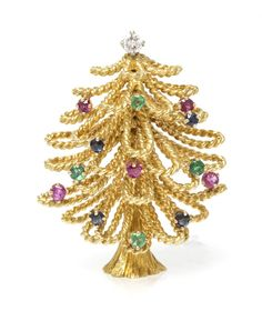 An 18 Karat Yellow Gold, Diamond, Sapphire, Ruby and Emerald Christmas Tree Brooch, containing one round brilliant cut diamond weighing approximately 0.13 carat, four round brilliant cut sapphires, five round brilliant cut rubies and four round brilliant cut emeralds in a rope texture wirework setting. Stamp: JRAL 18K.