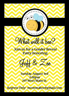 What will it Bee Gender Reveal Invitation- DIY Printable by Simply Sprinkled