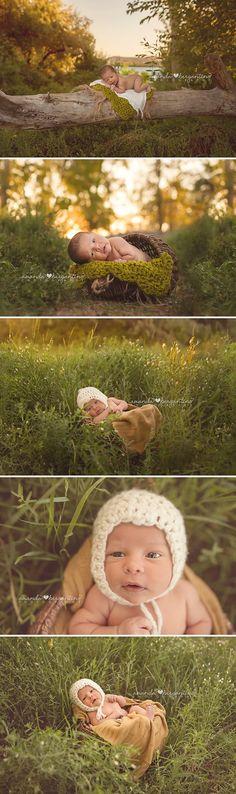 Outdoor newborn boy