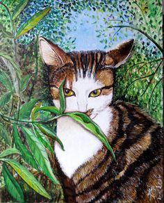 Portrait de Maya (ma jolie minette) - acrylique : Peintures par marie-lumiere