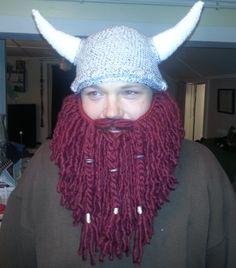 Crochet viking beard hat