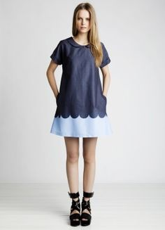 Peter Pan collar and scalloped print dress Marimekko Pixie Tunic in shades of bue Love Fashion, Kids Fashion, Fashion Outfits, Fashion Design, Marimekko Dress, Marimekko Fabric, Scalloped Dress, Super Cute Dresses, Ugg
