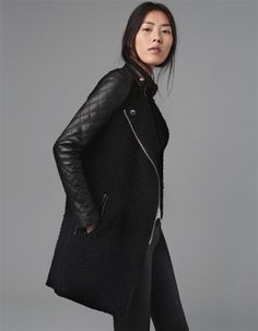 Stand Collar Wool Patchwork Zipper Mid-length