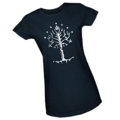 Tree of Gondor -- The Lord Of The Rings Crop Sleeve Fitted Juniors T-Shirt