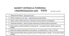 QUIZIZZ Instrukcja tworzenia i gry Quizziz Autor: Marta Florkiewicz - Borkowska