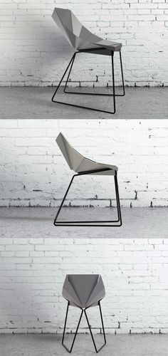 As its name suggests, the Origami Chair translates the folding paper language to a sharp, geometric, metal seating solution. Through a minimal number of folds, a three-dimensional structure designed to cradle the human body. The structure is supported by a metal pipe, perfectly bended to follow the shape created by the folds. #YankoDesign #Furniture #Chair