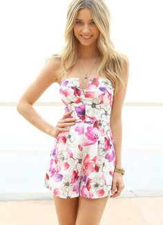 ea52191ccee3 Multi Jump Suits Rompers - Floral Print Strapless Playsuit with