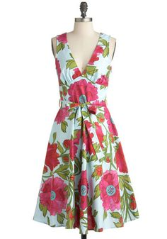 Poppy Culture Dress - Long, Multi, Green, Blue, Pink, Floral, Party, A-line, Sleeveless, Summer, Belted, Vintage Inspired