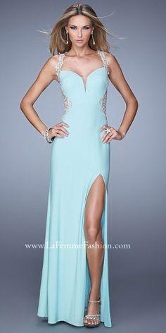 damask embellished open back jersey prom dress femme