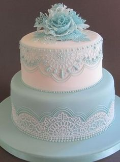 Lace Wedding Cakes Blue and white lace cake with Flexi-Ice and piping skills by Tessa Whitehouse Elegant Wedding Cakes, Elegant Cakes, Beautiful Wedding Cakes, Gorgeous Cakes, Wedding Cake Designs, Pretty Cakes, Lace Wedding, Trendy Wedding, Purple Wedding
