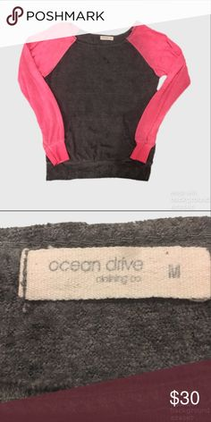 Ocean Drive Distressed Off the Shoulder Sweatshirt Euc. Very soft Distressed sweatshirt, lightweight and raglan sleeves. Sweaters