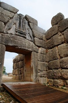 Peloponnissos, Mycenae, The Lions Gate to Agamemnon's palace, Greece