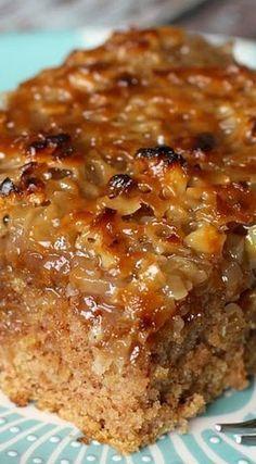 Old-Fashioned Oatmeal Cake -  1 1/2 c. boiling water, 1 c. brown sugar, 1 c. granulated sugar, 1/2 c. shortening, 1 c. oatmeal, 2 eggs, 1 tsp. baking soda, 1 tsp. cinnamon, 1 1/2 c. flour,1/2 tsp. salt ~~ Topping: 1/2 c. butter melted, 1/2 c. brown sugar, 1/4 c. cream or evaporated milk, 1 c. chopped walnuts, 1 c. coconut, 1 tsp. vanilla...
