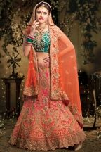 Designer Embroidered Wedding Lehenga Choli; Hot Magenta and Coral Red Raw Silk and Net Embroidered Bridal and Wedding Lehenga Choli