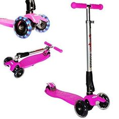 Kick Scooter with LED Light up Wheels Childrens Scooter Scate Scooter - Pink  #KickScooterwithLEDLightupWheels
